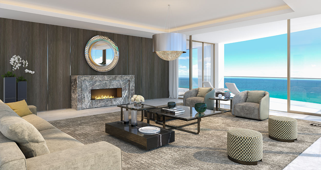 Amalfi  Living Room with Fireplace