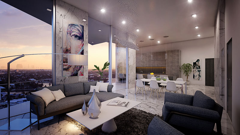 Aurora Residences, New Development in Sunny Isles Beach - Livingroom