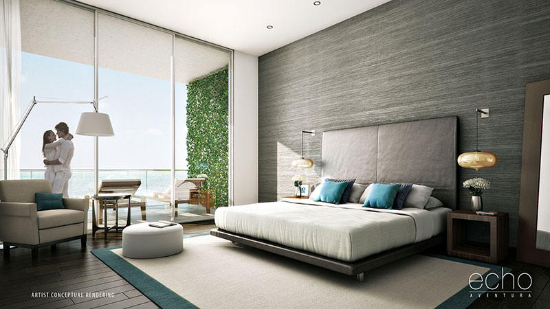 ECHO Aventura, New Luxury Waterfront Residences - Master Bedroom