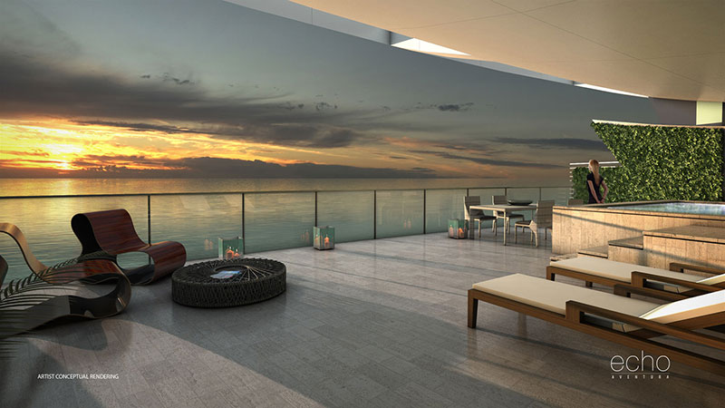 ECHO Aventura, New Luxury Waterfront Residences - Penthouse Terrace