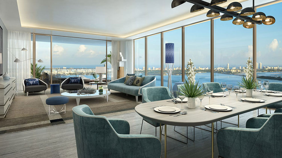 Elysee, New Luxury Boutique Tower in Edgewater Miami -  Livingroom