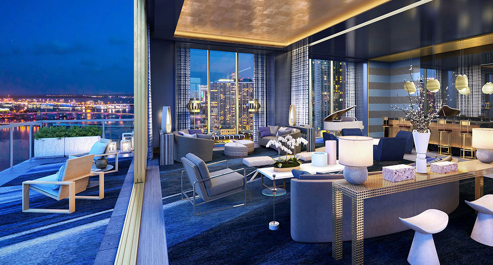 Elysee, New Luxury Boutique Tower in Edgewater Miami -  Livingroom at Nihgt