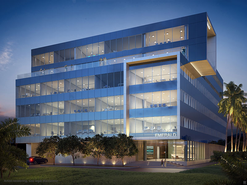 Emerald Aventura, New Class A Office Building - Night View