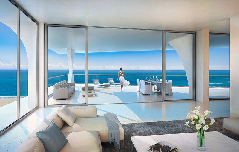New Jade Signature Residences in Sunny Isles Beach - Livingroom View