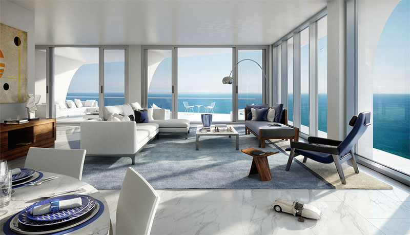 New Jade Signature Residences in Sunny Isles Beach - Livingroom