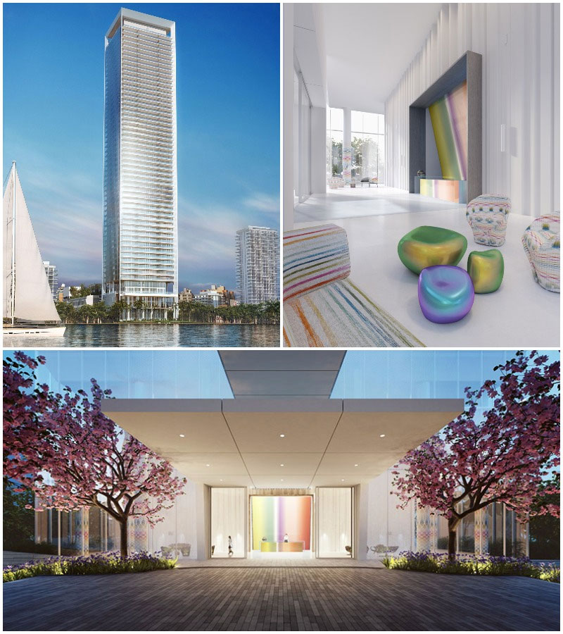Missoni Baia Residences in Miami, Entrance and Lobby