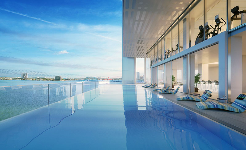Missoni Baia Residences in Miami, Infinity Pool