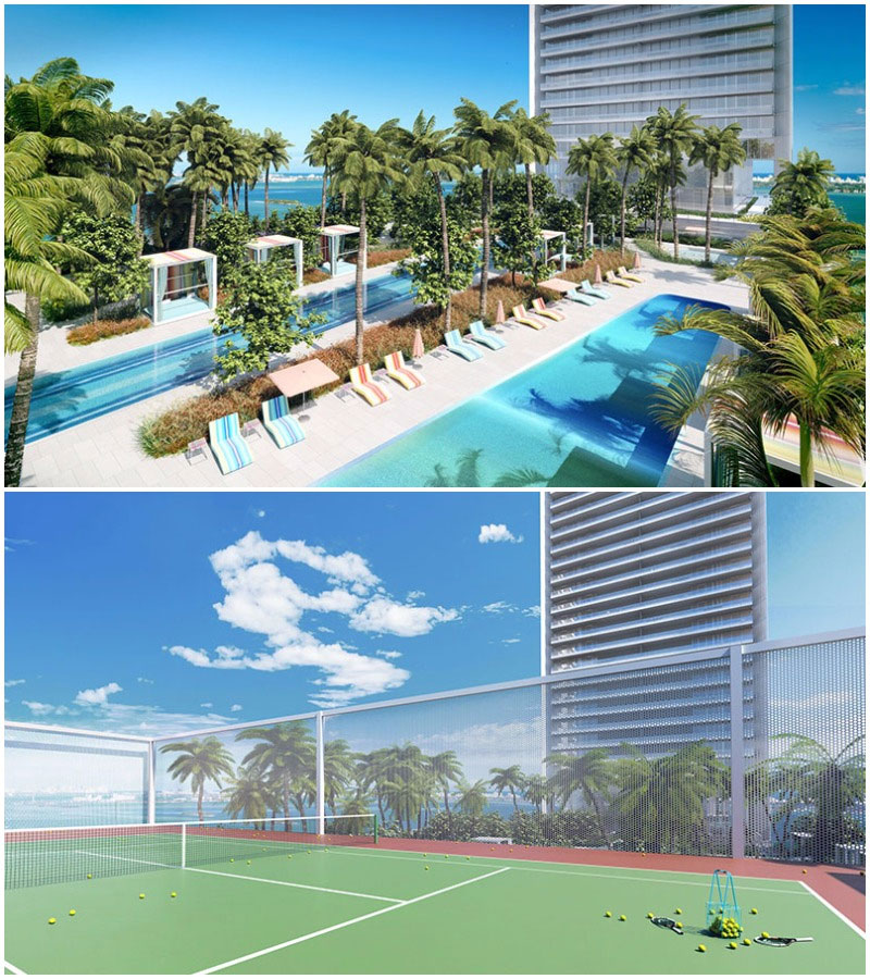 Missoni Baia Residences in Miami,  Pool and Tennis Court