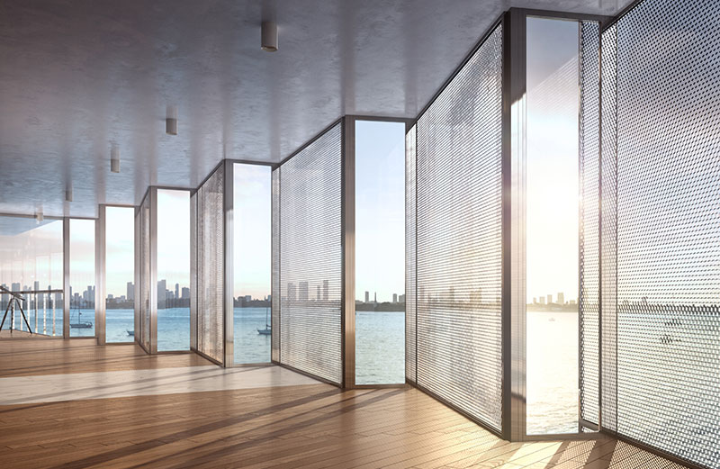 Monad Terrace Waterfront Residences in South Beach, Honeycomb Screens