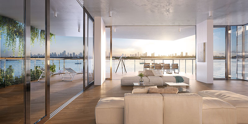 Monad Terrace Waterfront Residences in South Beach, Livingroom