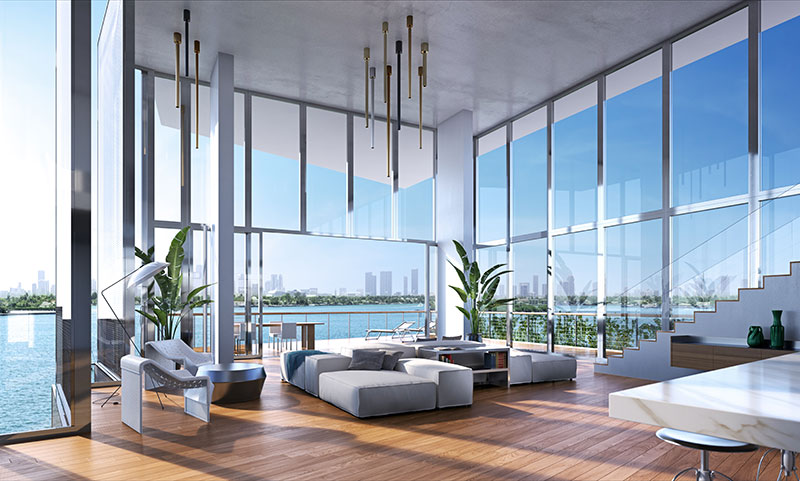 Monad Terrace Waterfront Residences in South Beach, Penthouse Livingroom