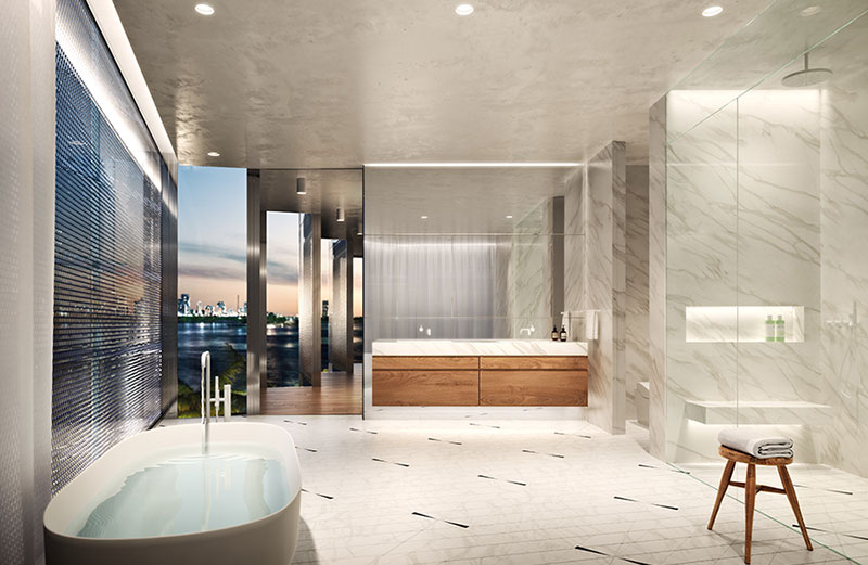 Monad Terrace Waterfront Residences in South Beach, Master Bath