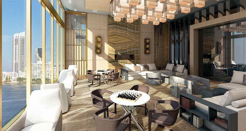 Prive, Private Island Residences in Aventura - Social Room
